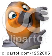 Clipart Of A 3d Red Robin Bird Looking Around A Sign Royalty Free Illustration