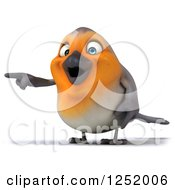 Clipart Of A 3d Red Robin Bird Pointing Royalty Free Illustration