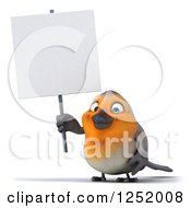Clipart Of A 3d Red Robin Bird Holding Up A Blank Sign Royalty Free Illustration