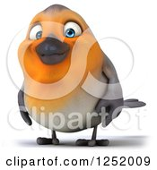 Clipart Of A 3d Red Robin Bird Royalty Free Illustration