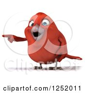 Clipart Of A 3d Happy Red Bird Pointing Royalty Free Illustration