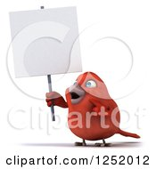 Clipart Of A 3d Happy Red Bird Holding And Pointing To A Blank Sign Royalty Free Illustration