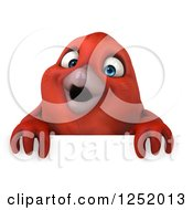Clipart Of A 3d Happy Red Bird Over A Sign Royalty Free Illustration