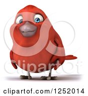 Clipart Of A 3d Happy Red Bird Royalty Free Illustration