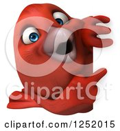 Clipart Of A 3d Happy Red Bird Pointing Around A Sign Royalty Free Illustration