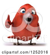 Clipart Of A 3d Happy Red Bird Holding A Thumb Up Royalty Free Illustration