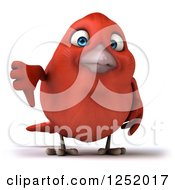 Clipart Of A 3d Displeased Red Bird Holding A Thumb Down Royalty Free Illustration