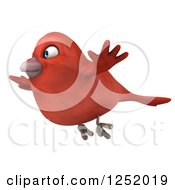 Clipart Of A 3d Happy Red Bird Flying 2 Royalty Free Illustration