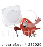 3d Happy Red Bird Flying With A Blank Sign