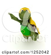 Clipart Of A 3d Super Hero Tortoise Flying Royalty Free Illustration