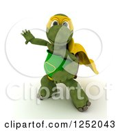 Clipart Of A 3d Super Hero Tortoise Ready To Take Off In Flight Royalty Free Illustration