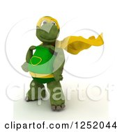 Clipart Of A 3d Super Hero Tortoise Posing Royalty Free Illustration by KJ Pargeter