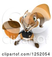 Clipart Of A 3d Business Squirrel Holding Up An Acorn Royalty Free Illustration by Julos