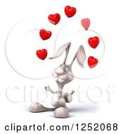 Clipart Of A 3d White Bunny Rabbit Juggling Hearts Royalty Free Illustration by Julos
