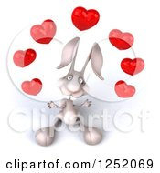 Clipart Of A 3d White Bunny Rabbit Juggling Hearts 2 Royalty Free Illustration by Julos