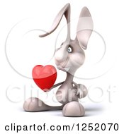 Clipart Of A 3d White Bunny Rabbit Holding A Heart 2 Royalty Free Illustration by Julos