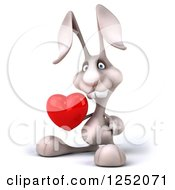 Clipart Of A 3d White Bunny Rabbit Holding A Heart 3 Royalty Free Illustration by Julos
