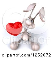 Clipart Of A 3d White Bunny Rabbit Holding A Heart Royalty Free Illustration by Julos