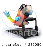 Clipart Of A 3d Macaw Parrot Wearing Sunglasses And Running On A Treadmill 2 Royalty Free Illustration