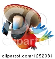 Clipart Of A 3d Mexican Macaw Parrot Flying And Talking On A Smart Phone 2 Royalty Free Illustration