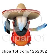 Clipart Of A 3d Mexican Macaw Parrot Flying And Talking On A Smart Phone Royalty Free Illustration