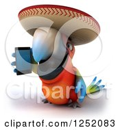 Clipart Of A 3d Mexican Macaw Parrot Talking On A Smart Phone Royalty Free Illustration