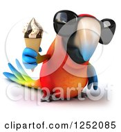 Clipart Of A 3d Macaw Parrot Wearing Sunglasses And Holding An Ice Cream Cone Royalty Free Illustration