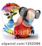 Clipart Of A 3d Macaw Parrot Wearing Sunglasses And Holding Flowers Royalty Free Illustration