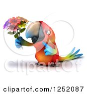 Clipart Of A 3d Macaw Parrot Holding Up Flowers Royalty Free Illustration
