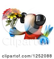 Clipart Of A 3d Macaw Parrot Wearing Sunglasses And Holding Flowers Over A Sign Royalty Free Illustration