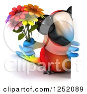 Clipart Of A 3d Macaw Parrot Wearing Sunglasses And Holding Flowers Around A Sign Royalty Free Illustration