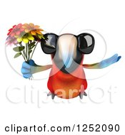 Clipart Of A 3d Macaw Parrot Wearing Sunglasses Flying And Holding Flowers Royalty Free Illustration