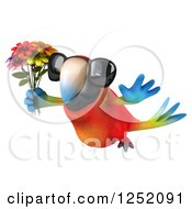 Clipart Of A 3d Macaw Parrot Wearing Sunglasses Flying And Holding Flowers 2 Royalty Free Illustration
