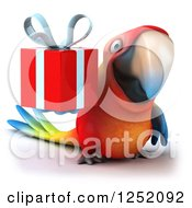 Clipart Of A 3d Macaw Parrot Holding A Present Royalty Free Illustration
