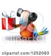 Clipart Of A 3d Macaw Parrot Wearing Sunglasses And Holding A Present Royalty Free Illustration