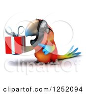 Clipart Of A 3d Macaw Parrot Wearing Sunglasses And Holding A Present 2 Royalty Free Illustration