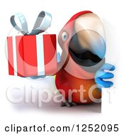 Clipart Of A 3d Macaw Parrot Holding A Present Around A Sign Royalty Free Illustration