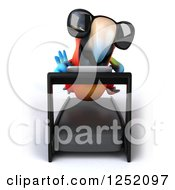Clipart Of A 3d Macaw Parrot Wearing Sunglasses And Running On A Treadmill Royalty Free Illustration