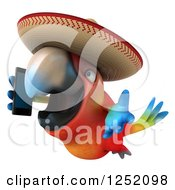 Clipart Of A 3d Mexican Macaw Parrot Flying And Talking On A Smart Phone 4 Royalty Free Illustration
