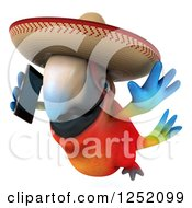 Clipart Of A 3d Mexican Macaw Parrot Flying And Talking On A Smart Phone 3 Royalty Free Illustration