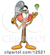 Sink Plunger Mascot Cartoon Character Preparing To Hit A Tennis Ball
