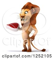 Clipart Of A 3d Lion Standing And Holding A Steak Royalty Free Illustration