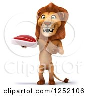 Clipart Of A 3d Lion Standing And Presenting A Steak Royalty Free Illustration