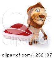 Clipart Of A 3d Lion Standing And Holding Up A Steak Royalty Free Illustration