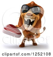 Clipart Of A 3d Lion Wearing Sunglasses Roaring And Holding A Steak Royalty Free Illustration