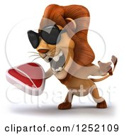 Clipart Of A 3d Lion Wearing Sunglasses Roaring And Holding A Steak 2 Royalty Free Illustration