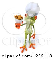 Clipart Of A 3d Green Springer Frog Chef Holding French Fries Royalty Free Illustration