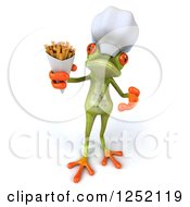 Clipart Of A 3d Green Springer Frog Chef Holding French Fries 2 Royalty Free Illustration