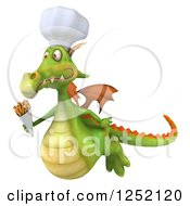 Clipart Of A 3d Green Chef Dragon Flying With French Fries Royalty Free Illustration