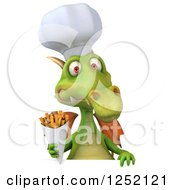 Clipart Of A 3d Green Chef Dragon Holding French Fries Over A Sign Royalty Free Illustration